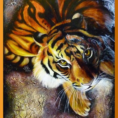 Роспись по стеклу Тигр