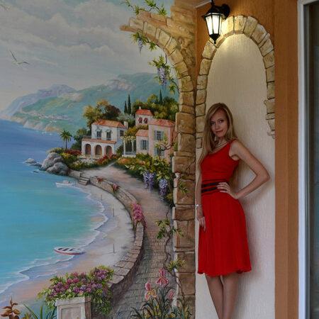 Роспись стены с морским пейзажем