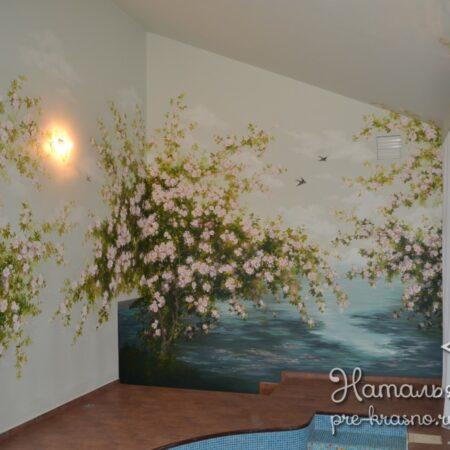 Объемная роспись стен Яблоня